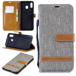 Jeans Cowboy Denim Leather Wallet Case for Samsung Galaxy M20 - Gray