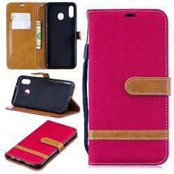 Jeans Cowboy Denim Leather Wallet Case for Samsung Galaxy M20 - Red