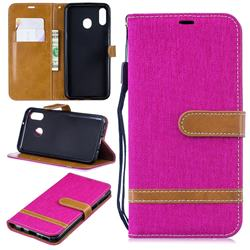 Jeans Cowboy Denim Leather Wallet Case for Samsung Galaxy M20 - Rose