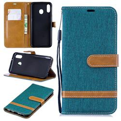 Jeans Cowboy Denim Leather Wallet Case for Samsung Galaxy M20 - Green