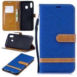 Jeans Cowboy Denim Leather Wallet Case for Samsung Galaxy M20 - Sapphire