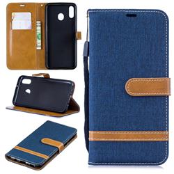 Jeans Cowboy Denim Leather Wallet Case for Samsung Galaxy M20 - Dark Blue