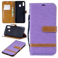 Jeans Cowboy Denim Leather Wallet Case for Samsung Galaxy M20 - Purple