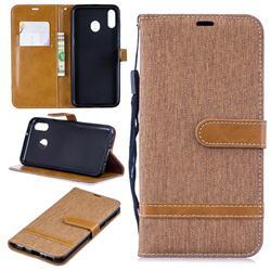 Jeans Cowboy Denim Leather Wallet Case for Samsung Galaxy M20 - Brown
