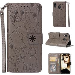 Embossing Fireworks Elephant Leather Wallet Case for Samsung Galaxy M20 - Gray