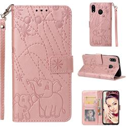 Embossing Fireworks Elephant Leather Wallet Case for Samsung Galaxy M20 - Rose Gold