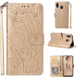 Embossing Fireworks Elephant Leather Wallet Case for Samsung Galaxy M20 - Golden