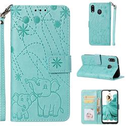 Embossing Fireworks Elephant Leather Wallet Case for Samsung Galaxy M20 - Green