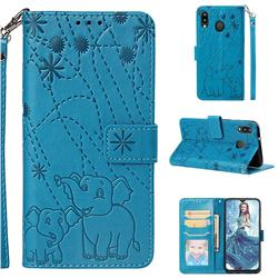 Embossing Fireworks Elephant Leather Wallet Case for Samsung Galaxy M20 - Blue