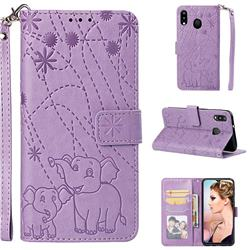 Embossing Fireworks Elephant Leather Wallet Case for Samsung Galaxy M20 - Purple
