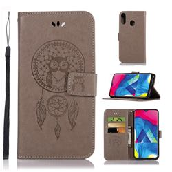 Intricate Embossing Owl Campanula Leather Wallet Case for Samsung Galaxy M20 - Grey