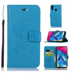 Intricate Embossing Owl Campanula Leather Wallet Case for Samsung Galaxy M20 - Blue