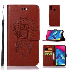 Intricate Embossing Owl Campanula Leather Wallet Case for Samsung Galaxy M20 - Brown