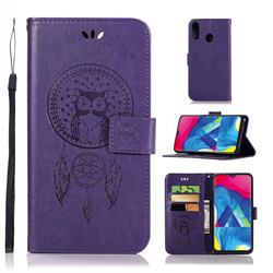 Intricate Embossing Owl Campanula Leather Wallet Case for Samsung Galaxy M20 - Purple