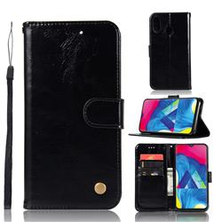 Luxury Retro Leather Wallet Case for Samsung Galaxy M20 - Black