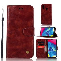 Luxury Retro Leather Wallet Case for Samsung Galaxy M20 - Wine Red