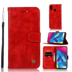 Luxury Retro Leather Wallet Case for Samsung Galaxy M20 - Red