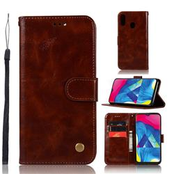 Luxury Retro Leather Wallet Case for Samsung Galaxy M20 - Brown