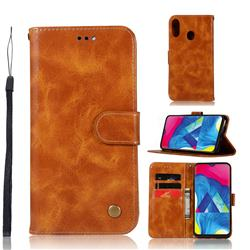 Luxury Retro Leather Wallet Case for Samsung Galaxy M20 - Golden