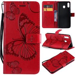 Embossing 3D Butterfly Leather Wallet Case for Samsung Galaxy M20 - Red