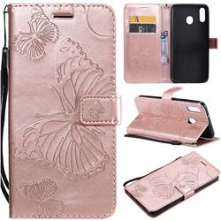 Embossing 3D Butterfly Leather Wallet Case for Samsung Galaxy M20 - Rose Gold