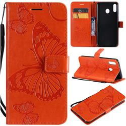Embossing 3D Butterfly Leather Wallet Case for Samsung Galaxy M20 - Orange