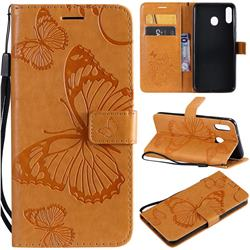 Embossing 3D Butterfly Leather Wallet Case for Samsung Galaxy M20 - Yellow