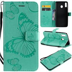 Embossing 3D Butterfly Leather Wallet Case for Samsung Galaxy M20 - Green