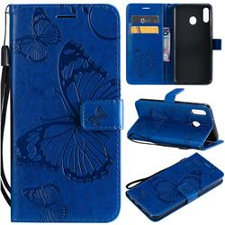 Embossing 3D Butterfly Leather Wallet Case for Samsung Galaxy M20 - Blue