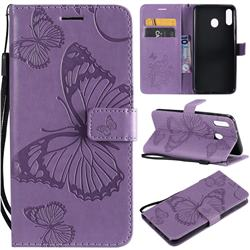 Embossing 3D Butterfly Leather Wallet Case for Samsung Galaxy M20 - Purple