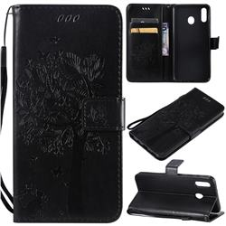 Embossing Butterfly Tree Leather Wallet Case for Samsung Galaxy M20 - Black