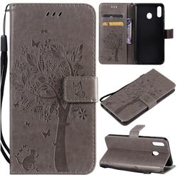 Embossing Butterfly Tree Leather Wallet Case for Samsung Galaxy M20 - Grey