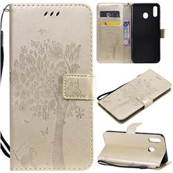 Embossing Butterfly Tree Leather Wallet Case for Samsung Galaxy M20 - Champagne