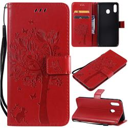 Embossing Butterfly Tree Leather Wallet Case for Samsung Galaxy M20 - Red
