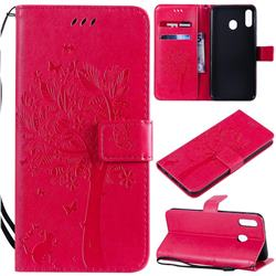 Embossing Butterfly Tree Leather Wallet Case for Samsung Galaxy M20 - Rose