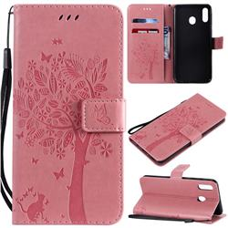 Embossing Butterfly Tree Leather Wallet Case for Samsung Galaxy M20 - Pink