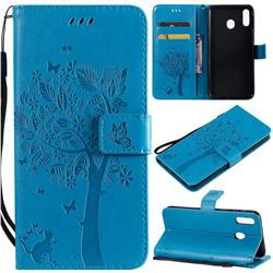Embossing Butterfly Tree Leather Wallet Case for Samsung Galaxy M20 - Blue