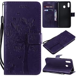 Embossing Butterfly Tree Leather Wallet Case for Samsung Galaxy M20 - Purple