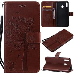 Embossing Butterfly Tree Leather Wallet Case for Samsung Galaxy M20 - Coffee