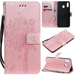Embossing Butterfly Tree Leather Wallet Case for Samsung Galaxy M20 - Rose Pink