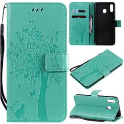 Embossing Butterfly Tree Leather Wallet Case for Samsung Galaxy M20 - Cyan