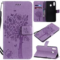 Embossing Butterfly Tree Leather Wallet Case for Samsung Galaxy M20 - Violet
