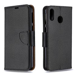 Classic Luxury Litchi Leather Phone Wallet Case for Samsung Galaxy M20 - Black