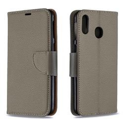 Classic Luxury Litchi Leather Phone Wallet Case for Samsung Galaxy M20 - Gray