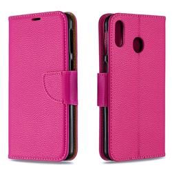 Classic Luxury Litchi Leather Phone Wallet Case for Samsung Galaxy M20 - Rose