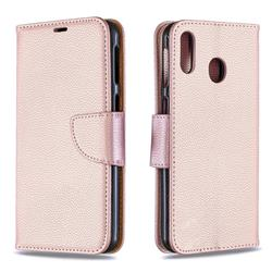 Classic Luxury Litchi Leather Phone Wallet Case for Samsung Galaxy M20 - Golden