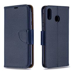 Classic Luxury Litchi Leather Phone Wallet Case for Samsung Galaxy M20 - Blue