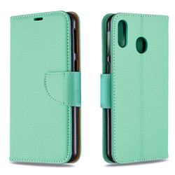 Classic Luxury Litchi Leather Phone Wallet Case for Samsung Galaxy M20 - Green