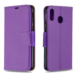 Classic Luxury Litchi Leather Phone Wallet Case for Samsung Galaxy M20 - Purple