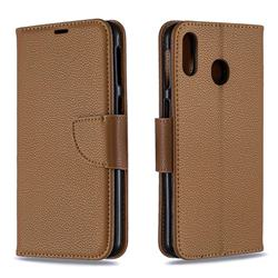 Classic Luxury Litchi Leather Phone Wallet Case for Samsung Galaxy M20 - Brown